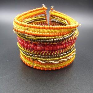Jewelry - Handmade Orange & Yellow Beaded Cuff Bracelet